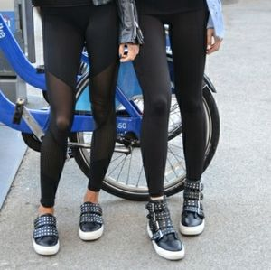 Black leather bootie sneaker